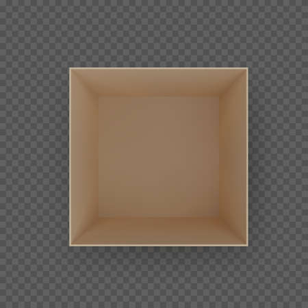 Box top view. Brown empty open cardboard container. Vector