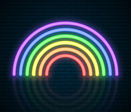 LGBT Neon Rainbow Sign. LGBT Pride Month. Lesbian Gay Bisexual Transgender. Rainbow love concept. Human rights and tolerance. Vector ilustration isolated on brick wall