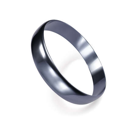 Realistic ring from white gold or silver. 3D render of platinum ring. Vector illustration