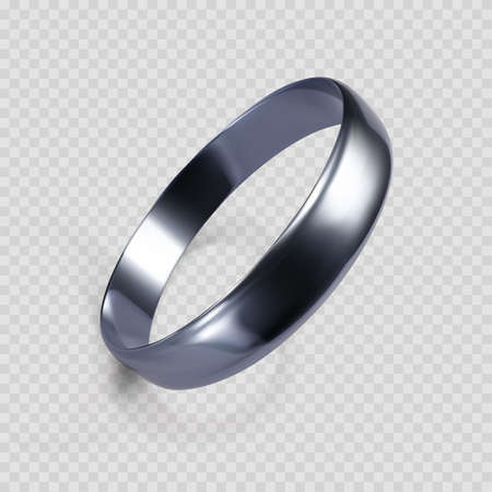 Realistic ring from white gold or silver. 3D render of platinum ring. Vector illustration isolated on transparent background Ilustrace