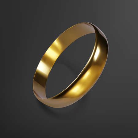 Realistic gold wedding ring. 3D render of golden ring. Vector illustration Ilustrace