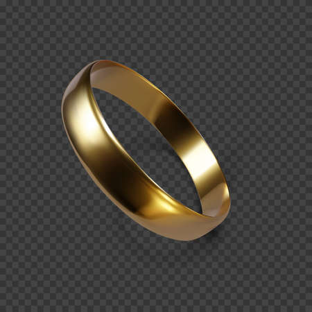 Gold wedding ring. 3D render of golden ring. Vector illustration