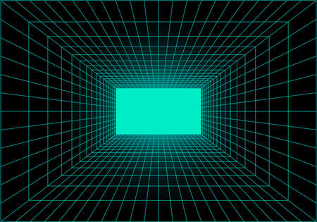 Virtual reality tunnel or wormhole. Perspective grid of empty tunnel with light in the end. Matrix data visualization. Vector