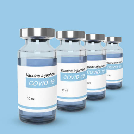 Bottle with vaccine from covid-19. Vaccination and treatment web banner template. Realistic vector illustration Ilustrace