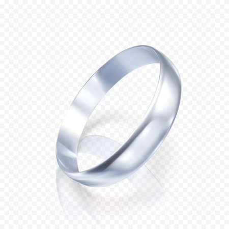 Realistic ring from white gold or silver. 3D render of platinum ring with shadow and reflection. Vector illustration isolated on transparent background Ilustrace