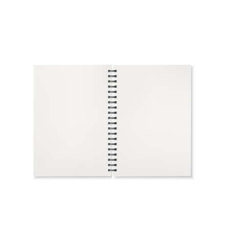 Notebook open view. Template of office notepad with white pages. Vector illustration