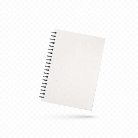 Design of notebook. Template of office notepad with white pages. Vector illustration