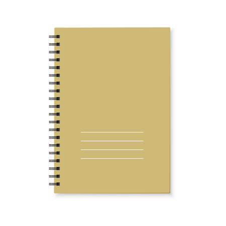 Notebook with color cover and spiral binding. Realistic copybook on white background. Vector 矢量图像