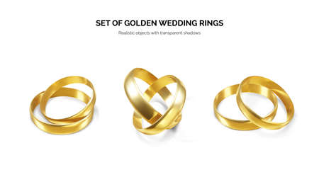 Set of golden wedding rings. Couple shiny realistic gold rings. Vector illustration