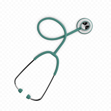 Stothoscope 3d render. Health care banner concept. Diagnostics of heart and lung health. Medical equipment.  Vector illustration