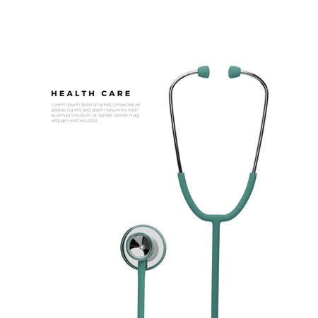 Stothoscope. Health care banner template. Vector illustration