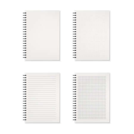 Set of realistic notebooks isolated on white background. Vector illustration