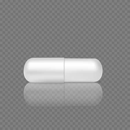 White realistic pill. 3d render of capsule tablet. Healthcare and medicine object. Vector