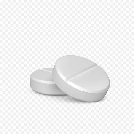 Couple of pills. Realistic white pills. Vitamins capsule on white background. Realistic treatment tablet. Vector illustration isolated on transparent background Ilustração