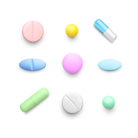 Realistic color pills. Set of color drug capsules. Pharmacy medicine and healthcare. Antibiotic or vitamin tablets top view. Vector Ilustração