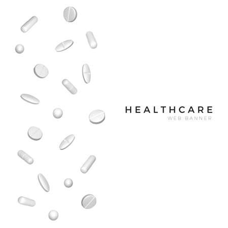 Set of different white realistic pills for poster or banner design. Healthcare and medicine background. Vector Ilustração