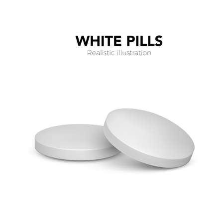 Realistic white pills. 3d treatment tablet. Vitamins capsule on white background. Vector illustration isolated on white background