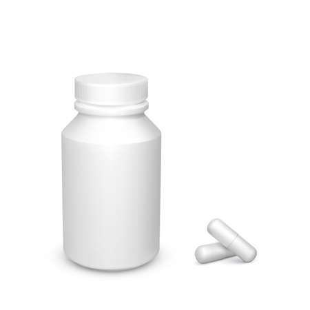 Realistic container with tablets. White drug capsules. Healthcare and medicine object for banner or poster. Vector