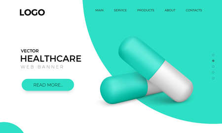 Web banner with realistic green capsule pills. Healthcare and medicine poster. Vector illustration
