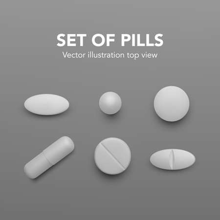 Realistic pills. Set of white drug capsules. Pharmacy medicine and healthcare. Antibiotic or vitamin tablets top view. Vector illustration