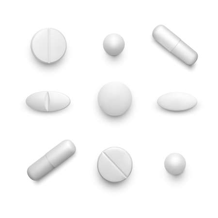 Realistic pills. Set of white drug capsules. Pharmacy and medicine. Antibiotic or vitamin tablets top view. Vector illustration