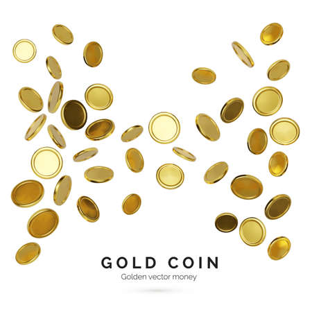 Realistic gold coins on white background. Jackpot or casino poker win element. Cash treasure concept. Falling or flying money. Vector illustration