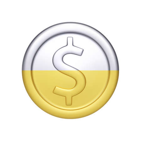 Silver and gold coin with dollar symbol. Metallic money. Vector illustration isolated on white background Ilustração