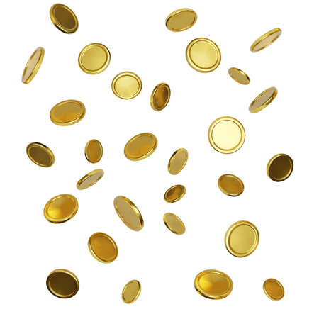 Realistic gold coins on white background. Falling or flying money. Jackpot or casino poker win element. Cash treasure concept. Vector illustration