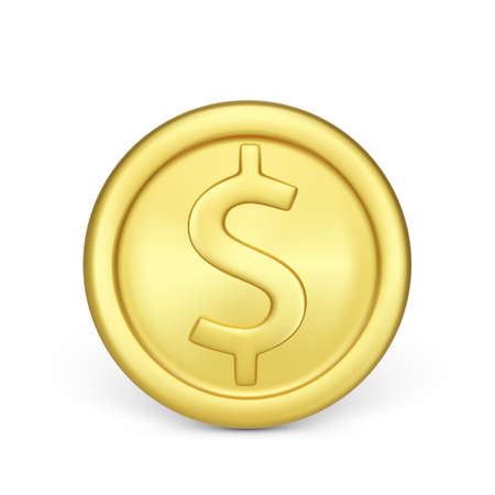 Golden coin front view. Finance and money. Realistic render of metallic coin. Vector illustration isolated on white background