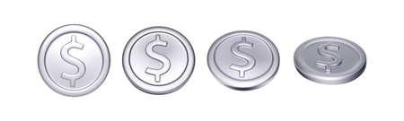 Set of silver coin with dollar symbol. Rotation metallic money. Vector illustration