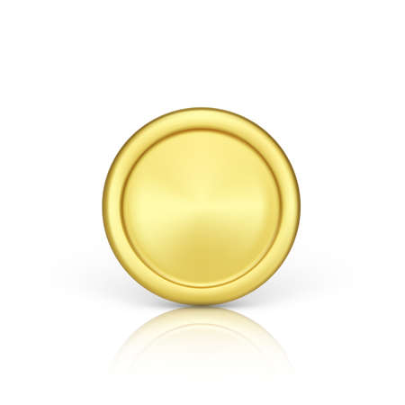 Golden coin front view. Realistic render of metallic coin. Finance and money. Vector illustration isolated on white background Ilustração