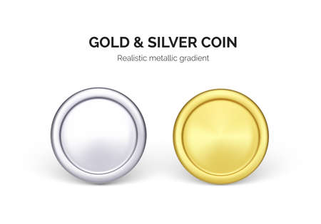 One silver and gold dollar coin. Business and finance illustration. Vector Ilustração