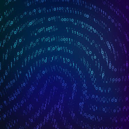 Binary code by fingerprint shape. Biometric data. Cyber security technology. Digital verification information. Vector illustration