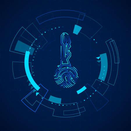 Futuristic HUD elements. Sci fi futuristic touch screen panel. Hologram of circuit key fingerprint. Vector illustration