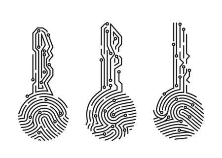 Set of fingerprint key. Security system user verification. Biometric ID for software login. Vector illustration Illustration
