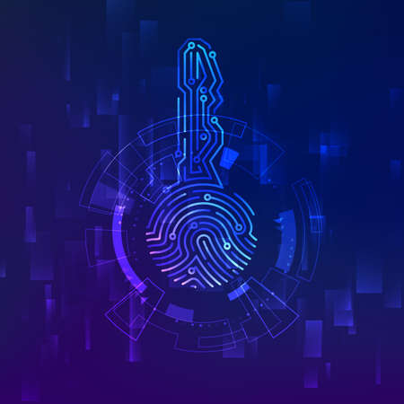 Circuit id key. Fingerprint scanner. Scan biometric fingermark electronic verification and identification. Vector illustration