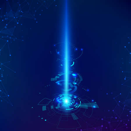 Sci-fi futuristic backdrop. Science and technology background HUD elements with beam. Vector illustration