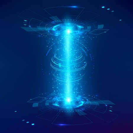 Abstract futuristic object HUD element. 3D hologram display consists of a sphere of global net. Vector science and technology illustration Illustration