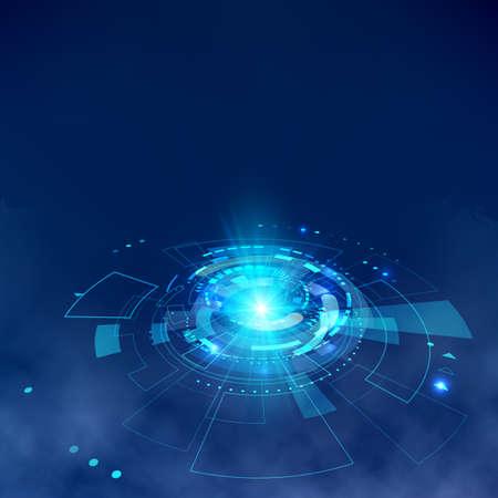Futuristic HUD elements with fog effect. Hologram UI elements virtual reality. Sci fi futuristic User Interface. Abstract hi-tech circle. Vector illustration