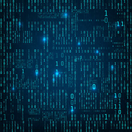 Matrix of binary numbers. Binary computer code. Flow of blue random digital numbers. Futuristic or sci-fi backdrop. Numbers falling on the dark background. Vector illustration