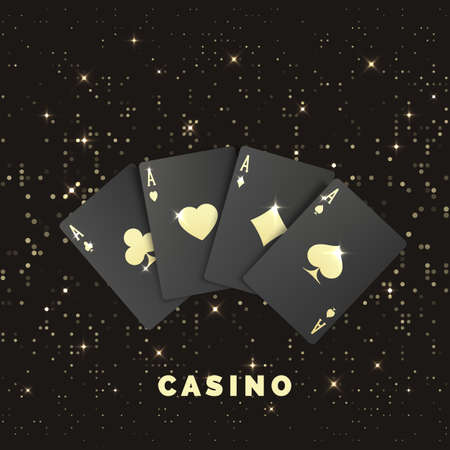Four black poker cards with gold label. Quads or four of a kind by ace. Casino banner or poster in royal style. Vector illustration Illustration