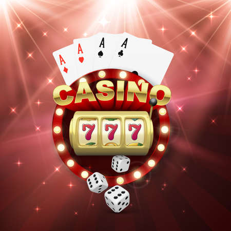 Casino banner with slot machine four aces and dice. Win jeckpot. Play game and win. Vector illustration Illustration