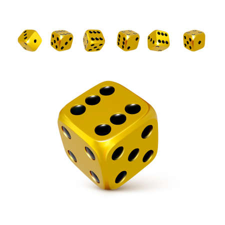 Dice. Set of 3d golden or yellow craps with black dots. Play casino and win jackpot. Vector illustration