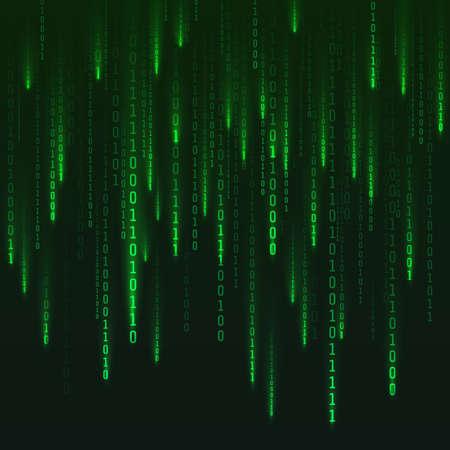 Numbers matrix generated. Digital virtual reality visualization. Green random numbers. Sci fi or futuristic backdrop. Encoded data. Vector illustration