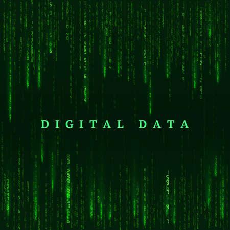 Background in a matrix style. Digital virtual reality visualization. Green random numbers. Sci fi or futuristic backdrop. Encoded data. Vector illustration Illustration