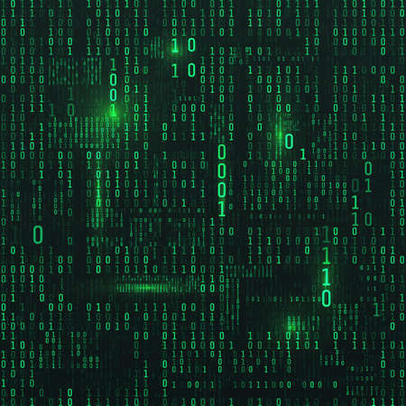 Matrix of binary numbers. Sci-fi Background. Binary computer code. Green digital numbers. Futuristic hacker abstraction backdrop. Random numbers falling on the dark background. Vector illustration