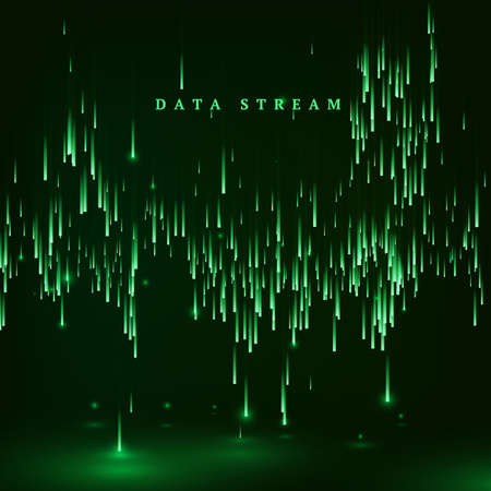 Matrix. Green color background in a matrix style. Data stream. Falling random data block. Cyberspace or virtual reality visualisation. Vector illustration