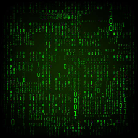 Matrix of binary numbers. Binary computer code. Green digital numbers. Futuristic or sci-fi hacker abstraction backdrop. Random numbers falling on the dark background. Vector illustration Illustration
