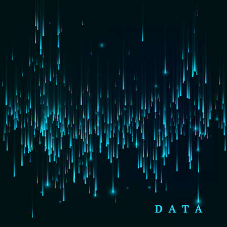 Random generated data block stream. Abstract matrix. Big data visualisation. Sci-fi or futuristic abstract background in blue colors. Vertor illustration Illustration