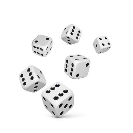 Dice. Render white realistic dices. Casino and betting background. Vector illustration Illustration
